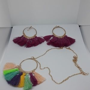 Necklace Bohemian Tassel and Earrings